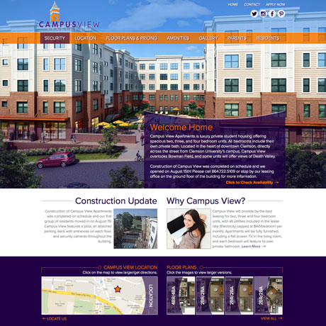 Campus View Web design in Charleston SC by The Design Group
