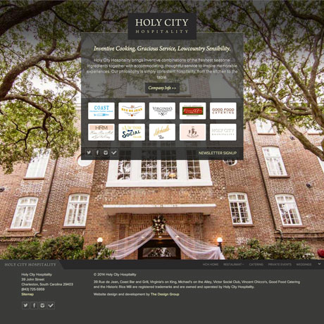 Holy City Hospitality Web design in Charleston SC by The Design Group