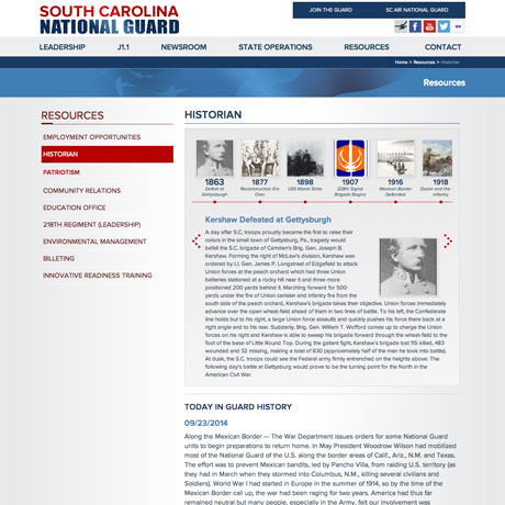 South Carolina National Guard Web Design and Development project